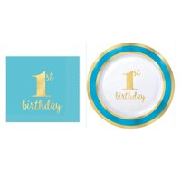 First 1st Birthday Premium Hot Stamped Dessert Plates with Beverage Napkins Boys Blue and Gold
