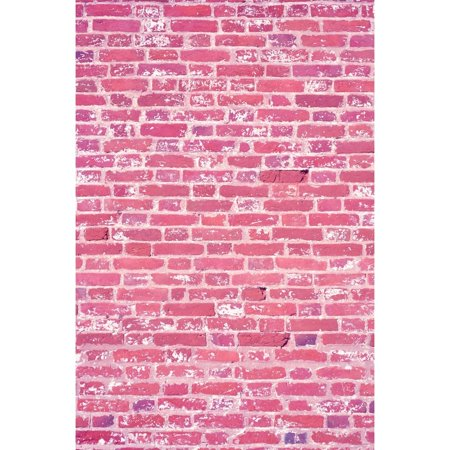 HelloDecor Polyester Fabric 5x7ft Pink Brick Girl Birthday Photography Backdrop Valentine's Day Background Newborn Photo Prop - Diy Photography Props