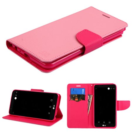 Fli Series - LG Stylo 3 / LS777, LG Stylo 3 Plus, LG MP450, LG TP450 Phone Case Leather Fli pWallet Credit Card / Cash Slots Cover Stand Pouch Folio Book Style Magnetic Buckle Hot Pink