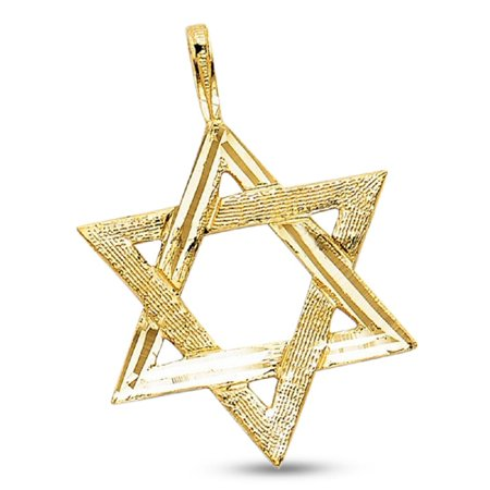 Star Of David Pendant Solid 14k Yellow Gold Jewish Religious Charm Design Polished 25 x 22 mm