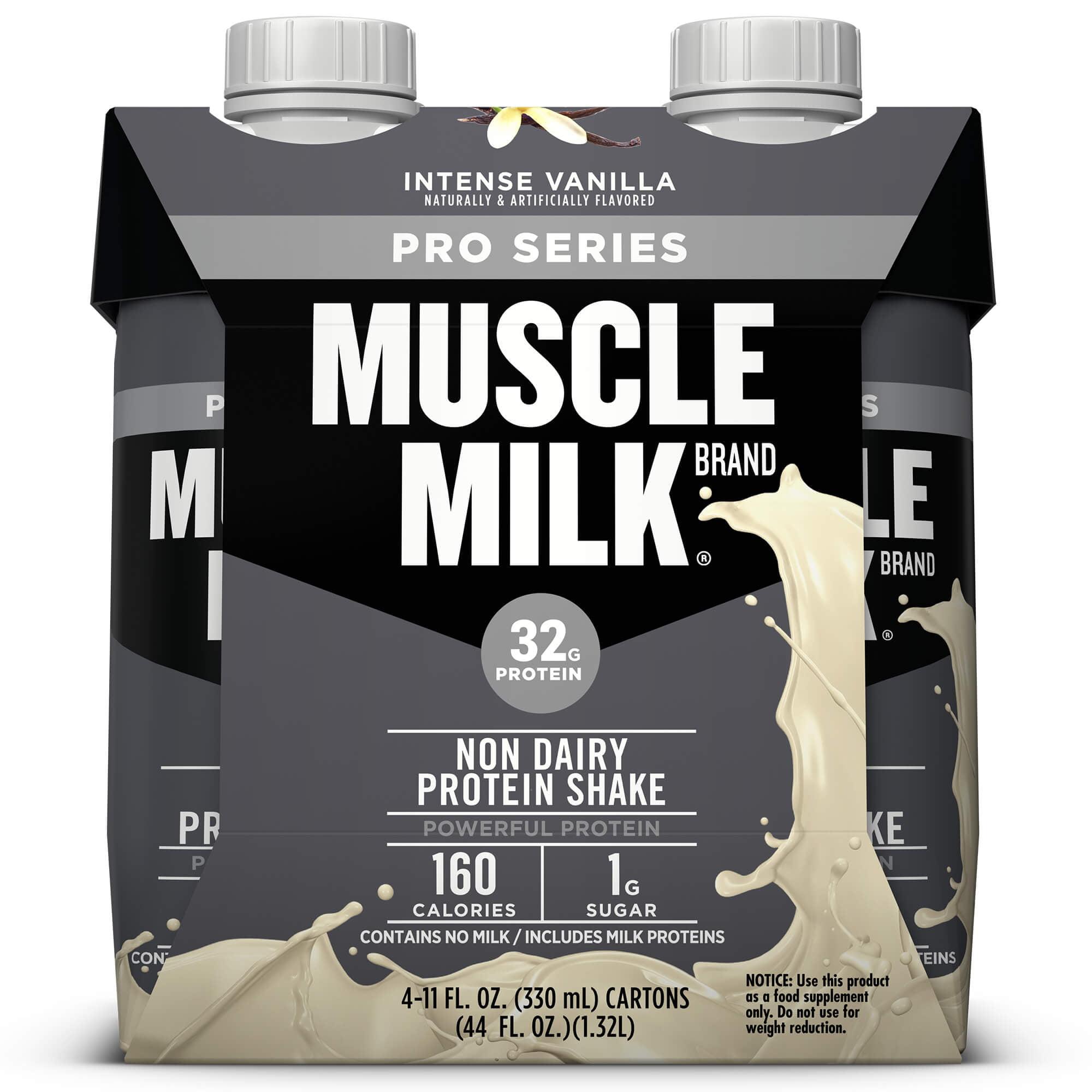 Muscle Milk Pro Series Non-Dairy Protein Shake, Intense Vanilla, 32g Protein, Ready to Drink, 11 fl. oz., 4-Pack