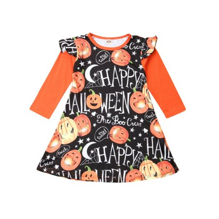 Halloween 2019 Kitchen (2019 Halloween Dress Fly-Sleeve Pumpkin Dress Clothes Gifts For Kid Baby)