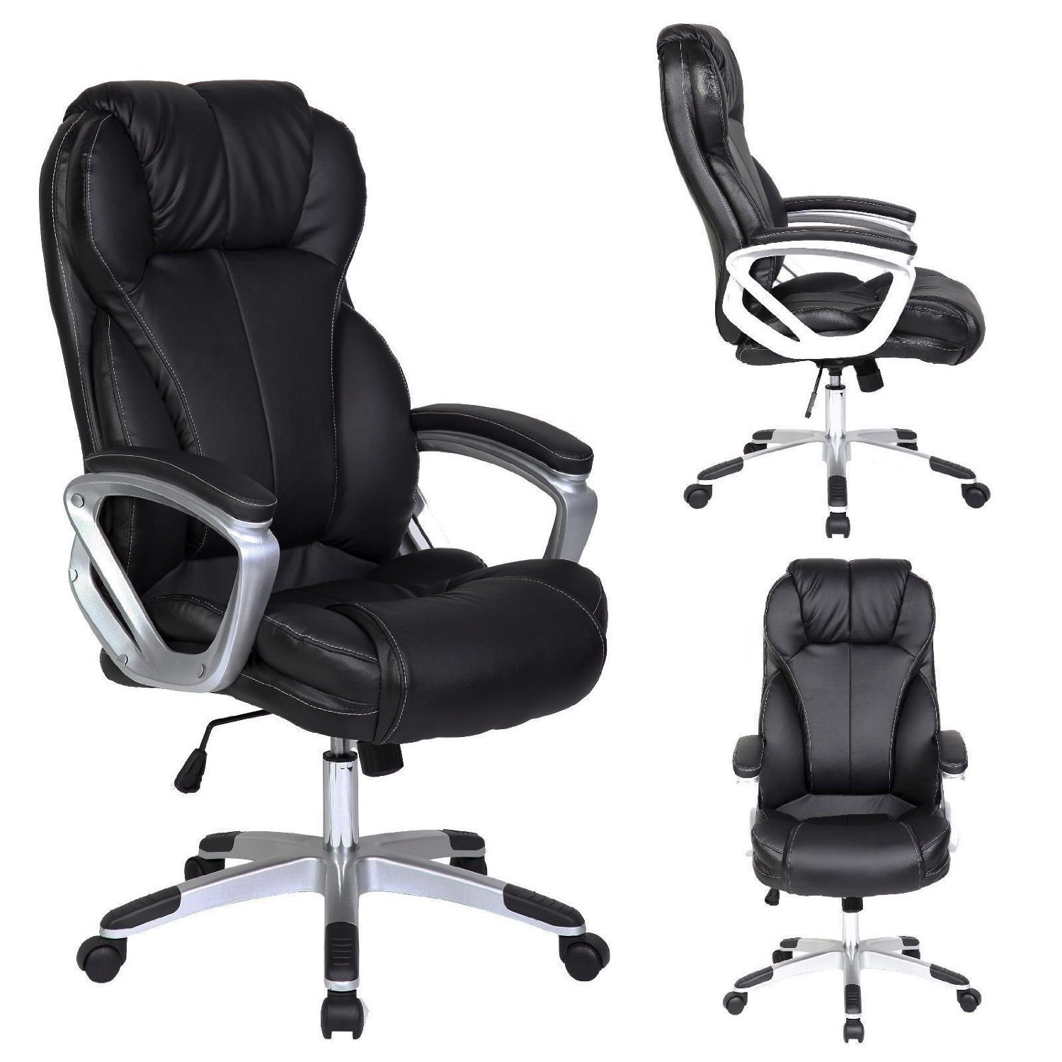 Best Ergonomic Office Chairs For Tall People - 2xhome - Black - Deluxe Professional PU Leather Review