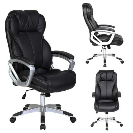 2xhome - Black - Deluxe Professional PU Leather Big Tall Ergonomic Office High Back Chair Manager Task Conference Executive Swivel Tilt Padded Arms - Ergonomic Conference Chair