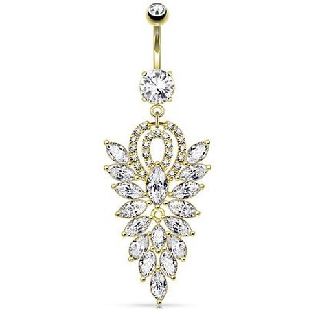 Belly Button Ring Fancy Chandelier CZ Cluster Dangle Navel Ring Body (Dangle Navel Ring Rings)