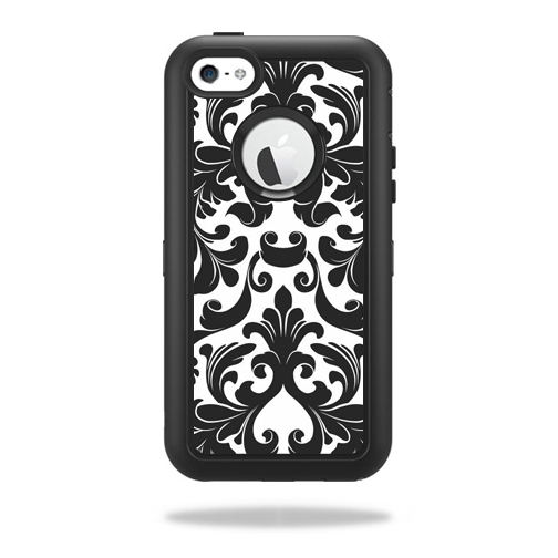 Mightyskins Protective Vinyl Skin Decal Cover for OtterBox Defender iPhone 5C Case wrap sticker skins Black Damask