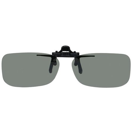 Clip on Flip up Plastic Sunglasses, Narrow Rectangle, 52mm W X 31mm H (119mm or 4-11/16