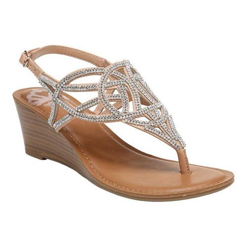women's fergalicious charity thong wedge slingback