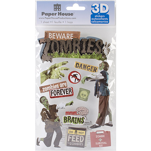 Paper House 3D Stickers, Beware Zombies