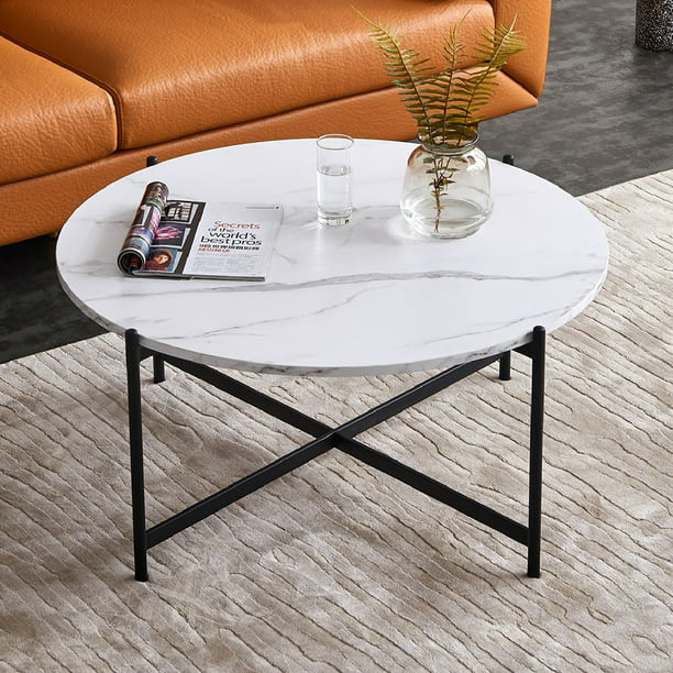 Kepooman Modern Round Nesting Coffee Tables with Marble ...