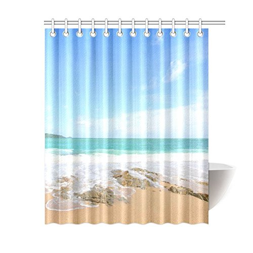 GCKG Tropical Beach Shower Curtain Sandy Ocean Wave Polyester Fabric Bathroom Sets 60x72 Inches