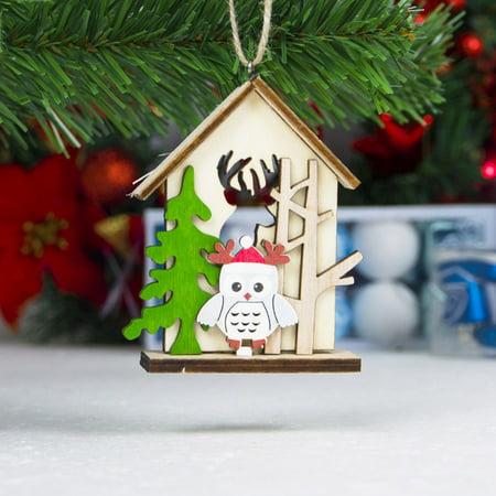 Christmas Tree Pendant Christmas Snowman Elk Log Cabin Hanging Card Shopping Mall Christmas Decoration Pendant Home Santa Claus (Nut Tree Mall)