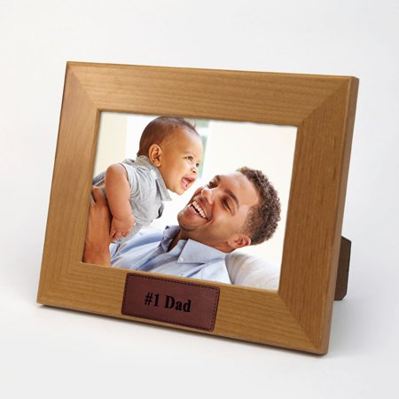 Personalized Leather - #1 Dad Personalized Leather Tab Wood Picture Frame