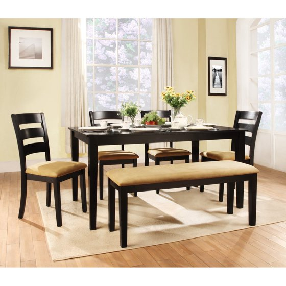 Weston Home Tibalt 6 Piece Rectangle Black Dining Table Set