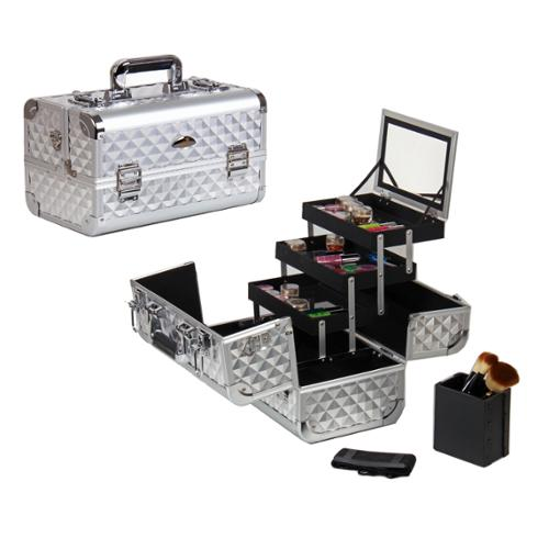Shany Cosmetics Shany Premium Collection Silver Diamond Makeup Train Case