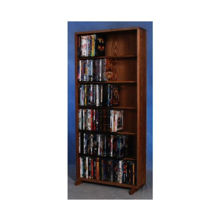 24.25 in. 6 Row Dowel DVD Tower (Honey Oak)