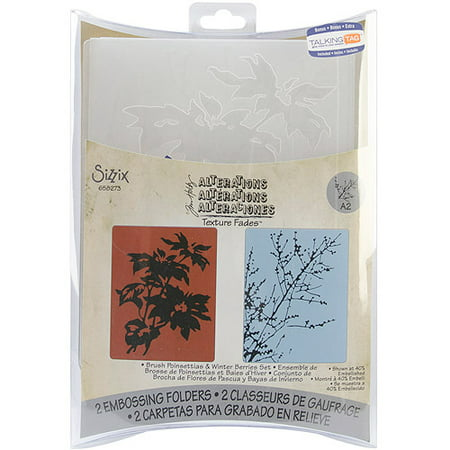 Sizzix Texture Fades Embossing Folder, Brush Poinsettias and Winter Berries, Grey