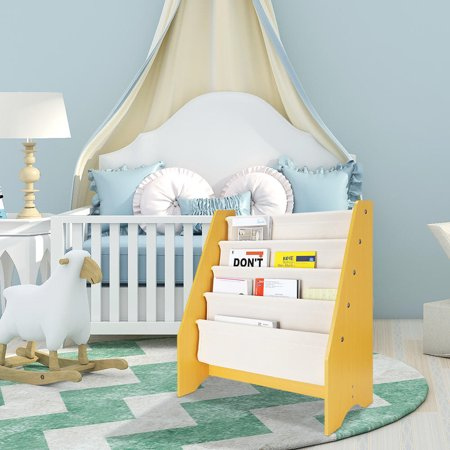 "4 Tier Kids Bookshelf Book Rack Storage Sling Bookshelf Toy Display Shelf, 24"" x 11 7/16"" x 27 15/16"" - image 1 of 6"