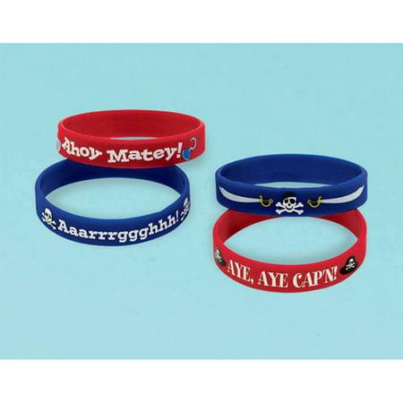 Pirate Party Rubber Bracelets / Favors (4ct)
