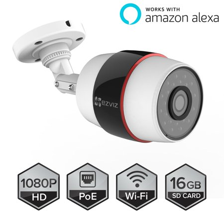 Ezviz Husky Outdoor Hd 1080P Poe   Smart Wi Fi Video Security Bullet Camera  Works With Alexa  100 Ft  Night Vision  Weatherproof  16Gb Micro Sd Included