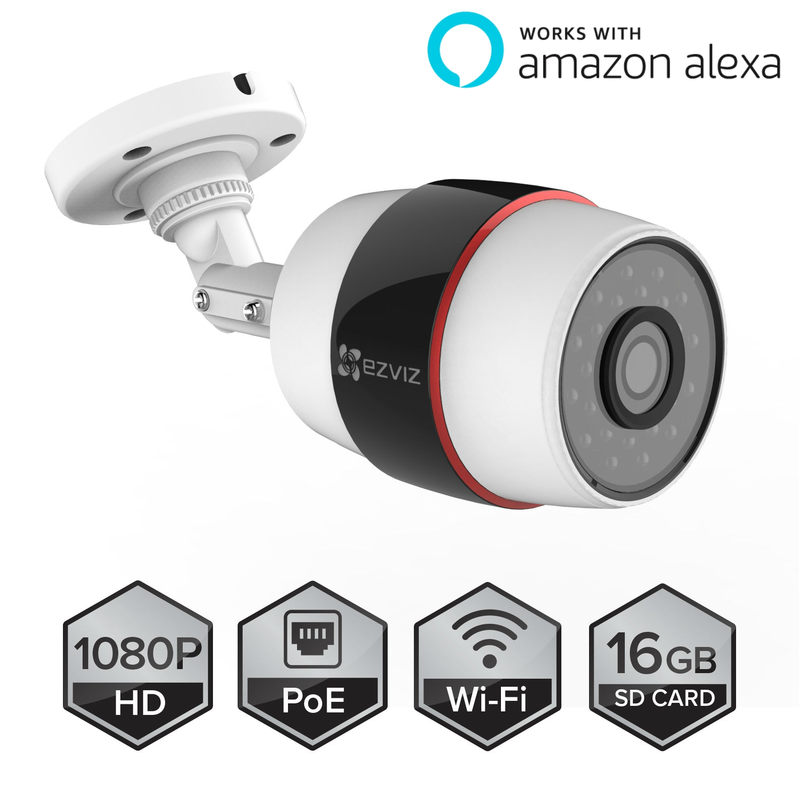 EZVIZ Husky Outdoor HD 1080p PoE & Smart Wi-Fi Video Security Bullet Camera, Works with Alexa, 100 ft. Night Vision, Weatherproof, 16GB Micro SD Included