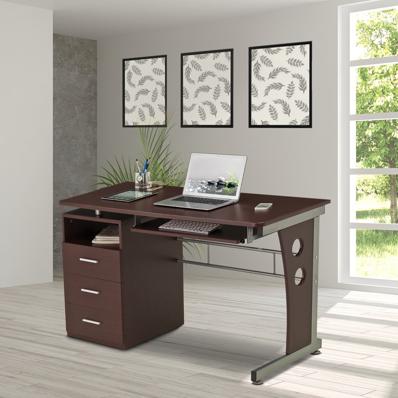 Techni Mobili Computer Desk with Keyboard Tray and Drawers, Chocolate (RTA-3520-CH)