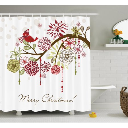 Christmas decorations shower curtain set merry xmas for Bird themed bathroom accessories