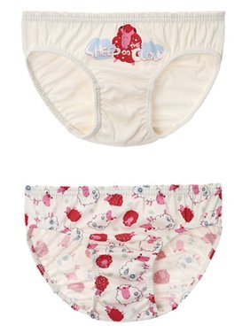 Toddler Girls Briefs 2 Pack PREMIUM 100% Organic Cotton 3T - 7