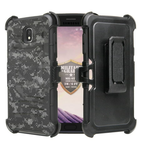 Beyond Cell Rugged Dual Layer Armor Kickstand Case with 360 Degree Rotatable Swivel Belt Clip Holster and Atom Cloth Samsung Galaxy J7 2018 (J7 V 2nd Gen, Refine, Star, Aero) - Digital Pixel Camo