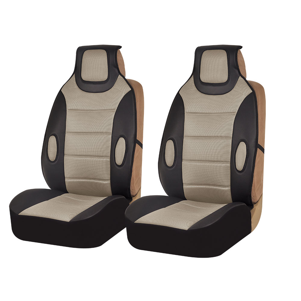 FH Group Beige and Black Faux Leather Car Seat Cushions, 2 Pack