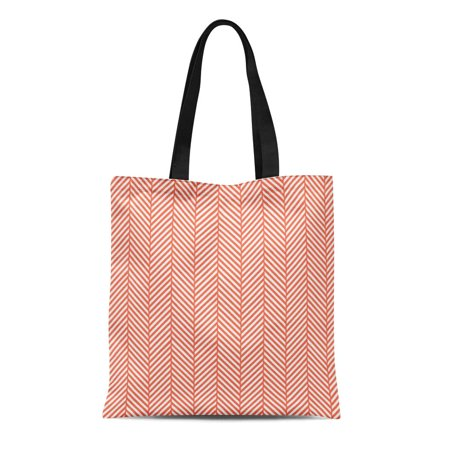 ASHLEIGH Canvas Tote Bag Stripes Coral Herringbone Zigzag Chevron Pattern Modern Classic Preppy Reusable Handbag Shoulder Grocery Shopping Bags - Coral Tote Bag