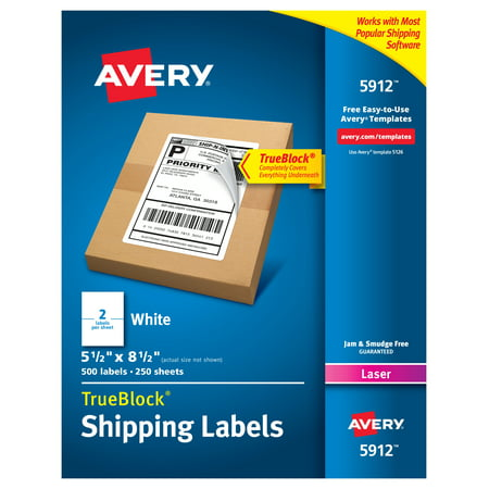 Avery Shipping Address Labels, Laser Printers, 500 Labels, Half Sheet Labels, Permanent Adhesive, TrueBlock (5912) Shipping Address Labels