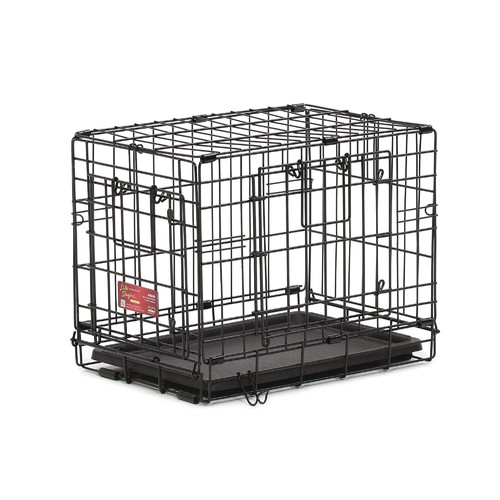 Mid-West Metal Products 436DD Black Plastic Double Door Fold Carry Dog Crate, 36.75 x 22.75 x 24.75 Inch