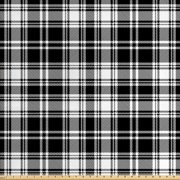 Abstract Fabric by The Yard, British Tartan Celtic Pattern with Vertical Horizontal Symmetric Stripes Image, Decorative Fabric for Upholstery and Home Accents, by Ambesonne