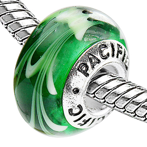 Pacific 925 Charms Sterling Silver Core Glass Bead, Gecko