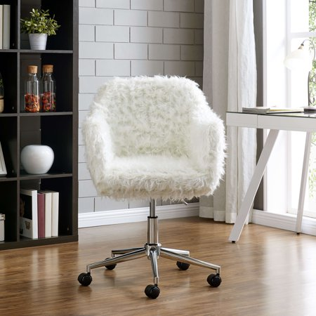 Swell Fur Upholstered Office Chair With Chrome Base In White Machost Co Dining Chair Design Ideas Machostcouk