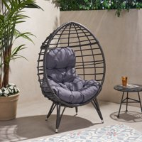Kavani Outdoor Wicker Teardrop Chair with Cushion, Gray and Dark Gray