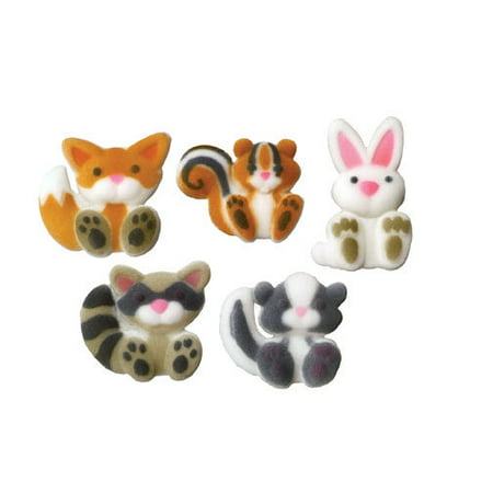 Farm Animal Party Favors (Woodland Animals Sugar Decorations Toppers Cupcake Cake Cookies Birthday Favors Party 12)