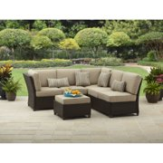 Better Homes and Gardens Cadence Wicker 3-Piece Outdoor Sectional Sofa Set, Tan, Seats 5