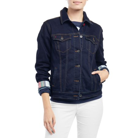 EV1 from Ellen DeGeneres Women's Plaid Trim Denim Jacket
