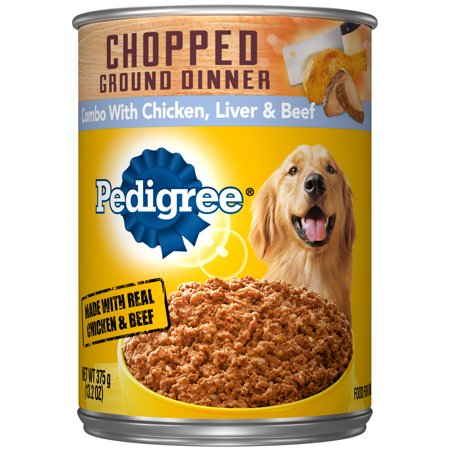 Pedigree Chopped Ground Dinner Combo with Chicken, Beef & Liver Adult Canned Wet Dog Food, 13.2 oz.