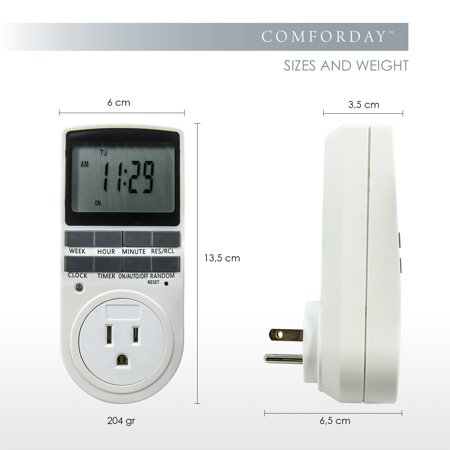 Comforday Small Digital Timer 15A/1800W 7 Day Programmable, 3 Prong Outlet, Smart Socket Plug in,2 Packs - image 4 of 6