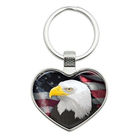 (American Bald Eagle Flag USA Patriotic Heart Love Metal Keychain Key Chain Ring)