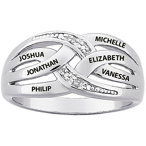 Personalized Sterling Silver Mother's Diamond Accent Name Ring