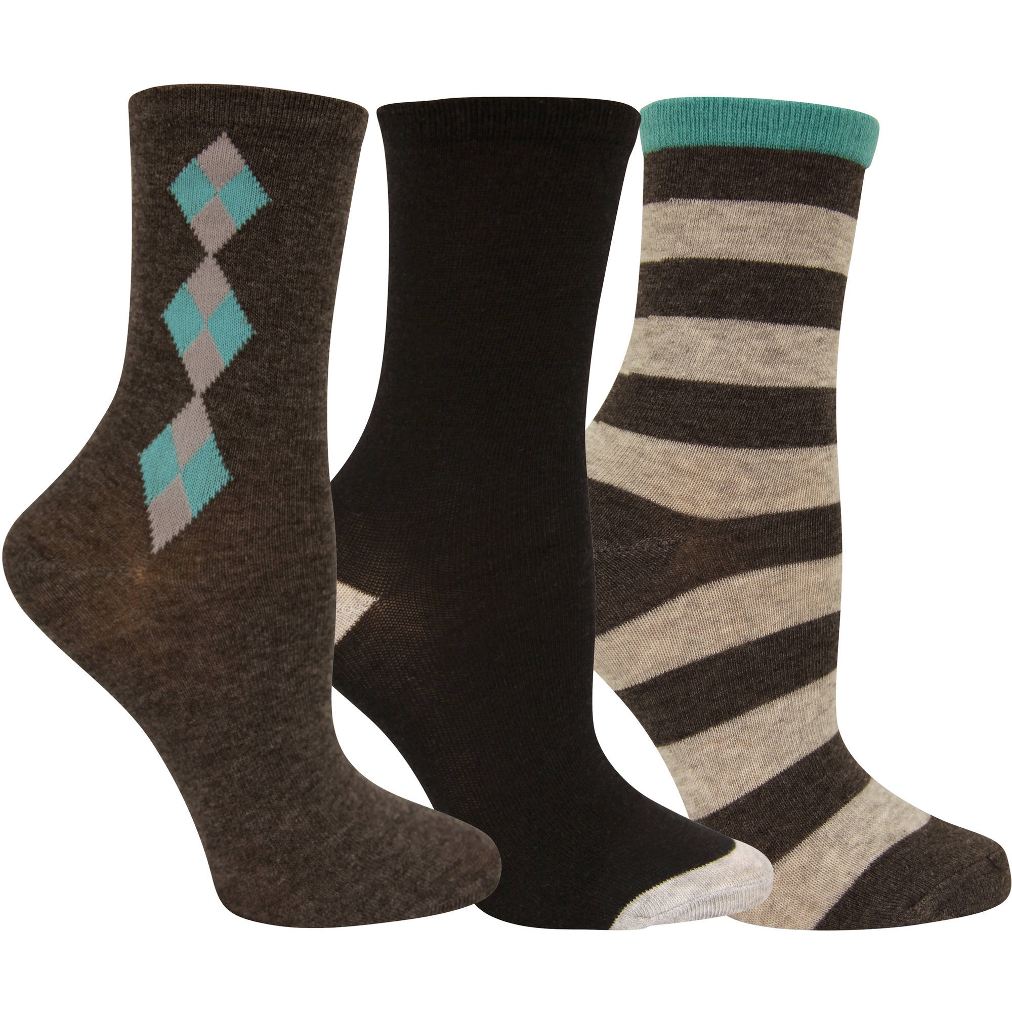 Faded Glory Womens Argyle Assorted Crew Socks - 3 Pack