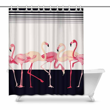 - MKHERT Shabby Chic Pink Flamingo Birds with Stripes Lines Home Decor Waterproof Polyester Fabric Shower Curtain Bathroom Sets 66x72 inch