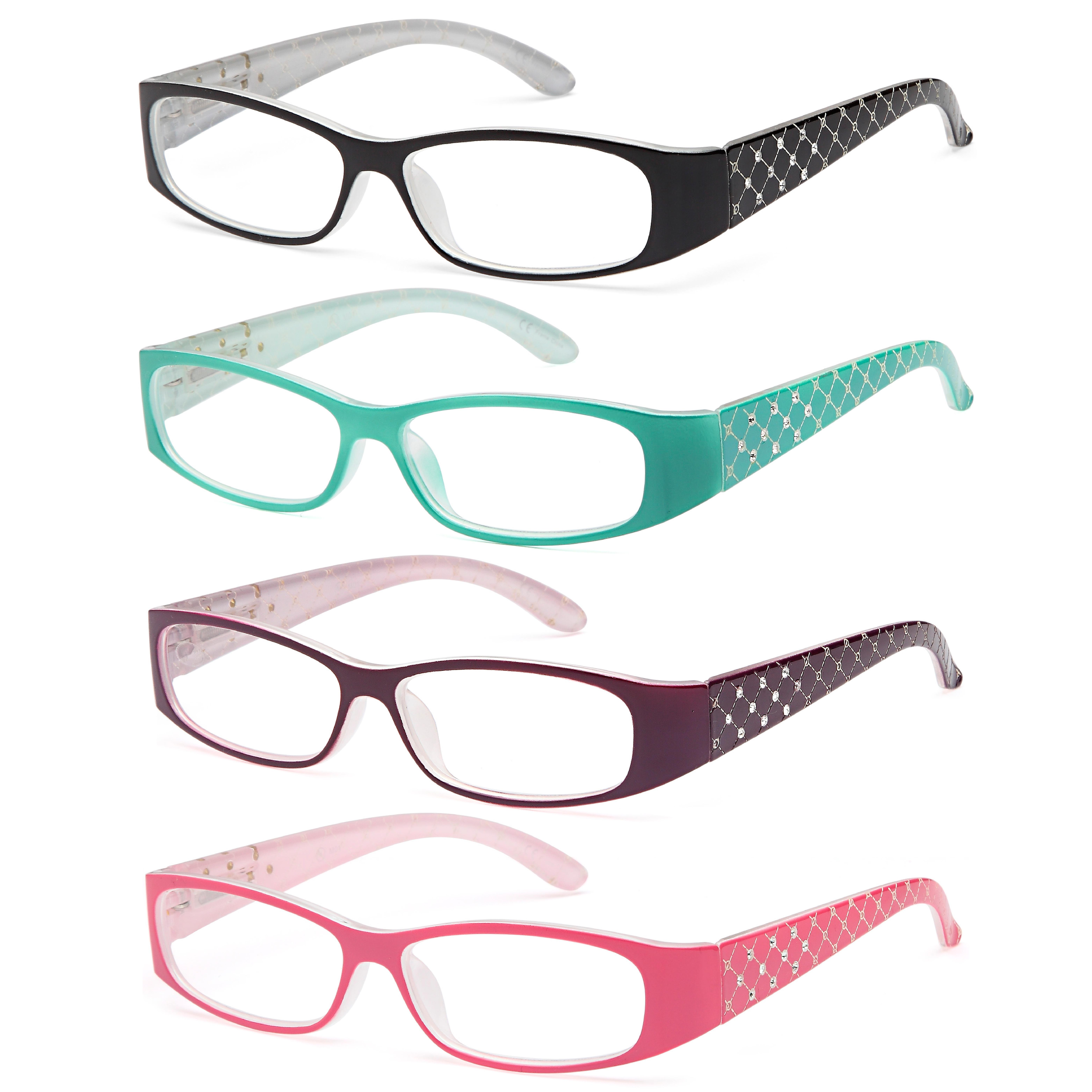 ALTEC VISION Pack of 4 Pattern Color Frame Readers Spring Hinge Reading Glasses for Women +1.00