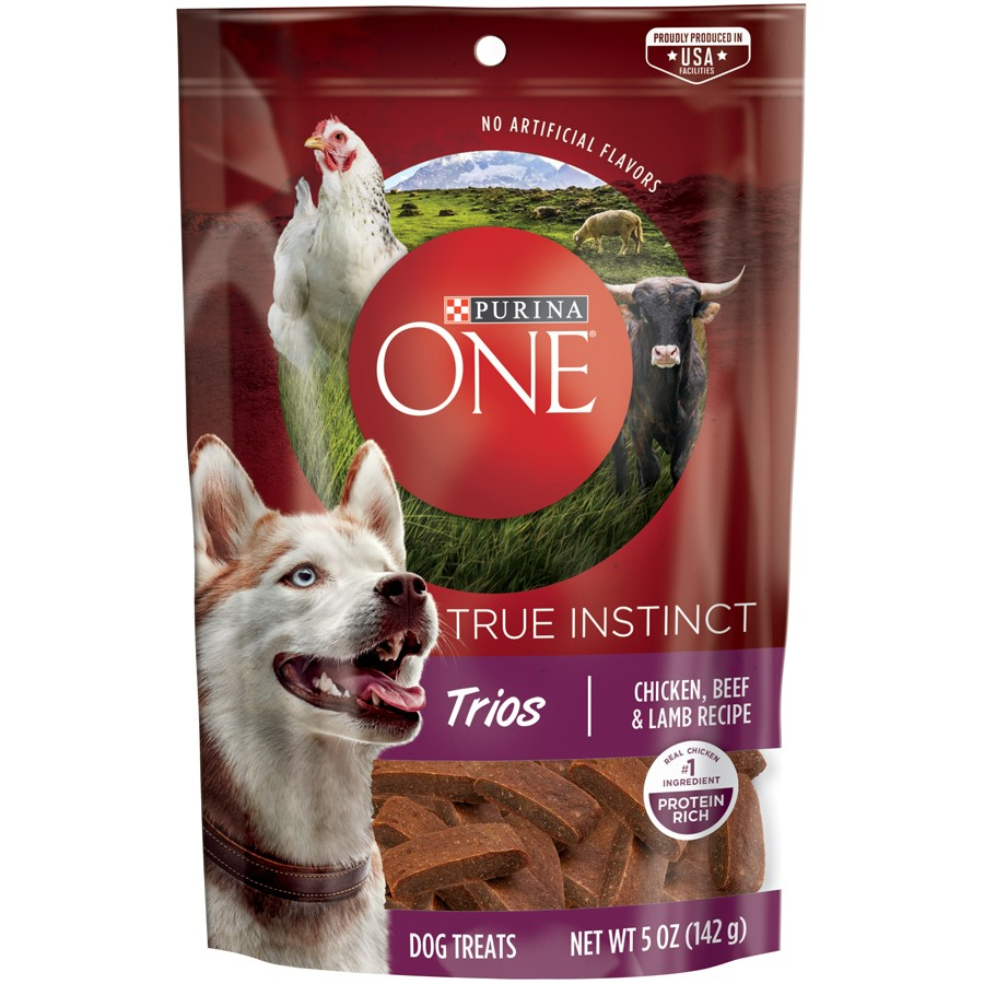 Purina ONE True Instinct Trios Chicken, Beef & Lamb Recipe Dog Treats 5 oz. Pouch
