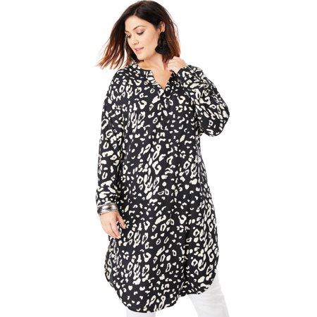 Roaman's Plus Size Georgette Pullover Ultra Tunic With High-low Hem