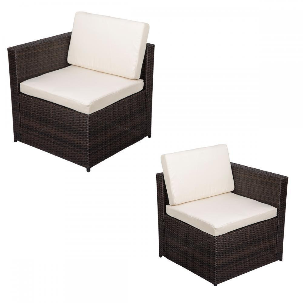 2 PCS Outdoor Patio Sofa Set Sectional Furniture PE Wicker Rattan Deck Couch F10 by